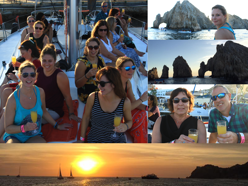 Travel agents on El Arco sunset cruise