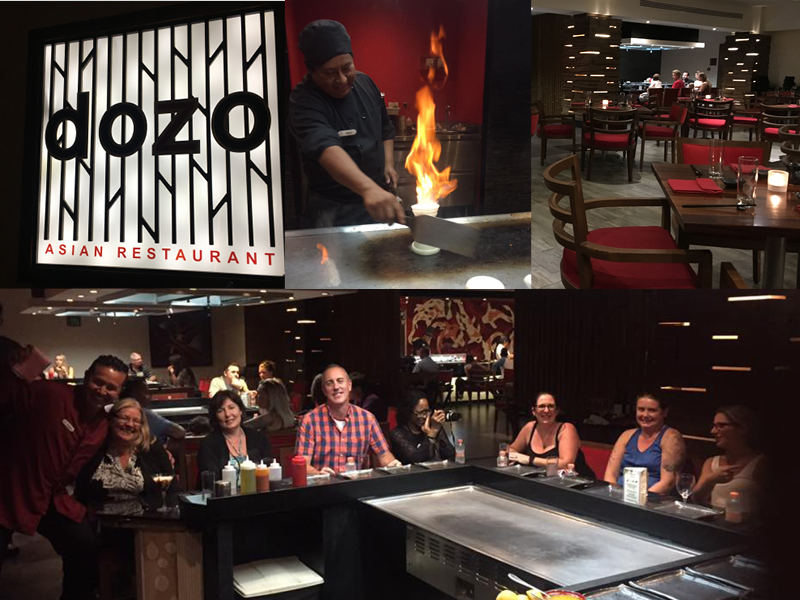 travel agents group dinner at dozo japanese restaurant in los cabos